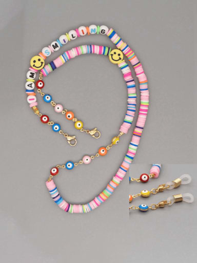 Stainless steel Multi Color Polymer Clay Smiley Bohemia Beaded  Hand-woven Necklace