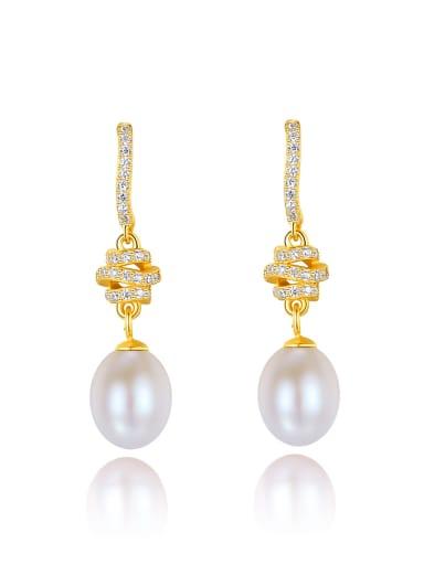 925 Sterling Silver Imitation Pearl Water Drop Dainty Drop Earring