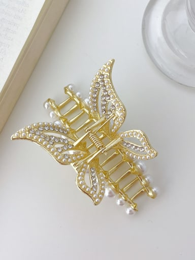 Butterfly 8cm Alloy Imitation Pearl Trend Butterfly  Jaw Hair Claw