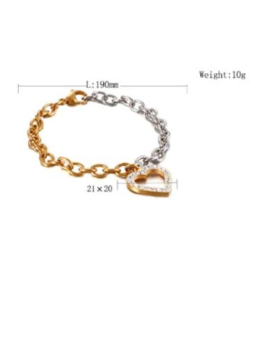 gold Stainless Steel White Rhinestone Hollow Heart Minimalist  Chain  Bracelet