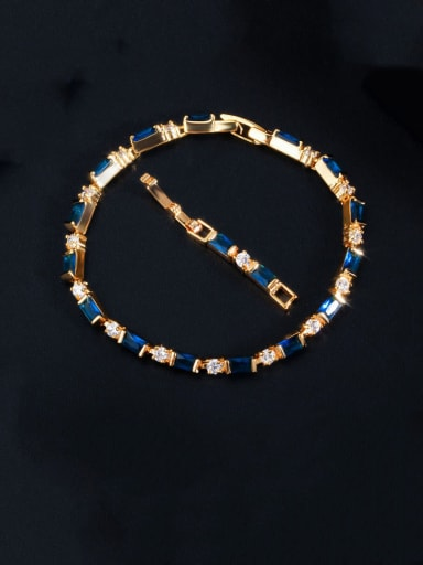 blue Copper With Gold Plated Fashion Geometric Bracelets