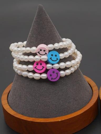 Freshwater Pearl Multi Color Smiley Minimalist Stretch Bracelet