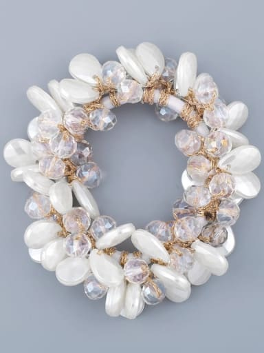 white Alloy Imitation Pearl Bohemia Geometric Hair Rope