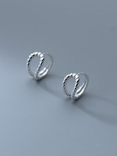 925 Sterling Silver Hollow double-layer twist Minimalist Clip Earring