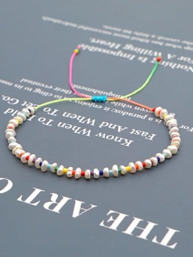 ZZ B200038A Stainless steel Freshwater Pearl Multi Color Geometric Minimalist Woven Bracelet