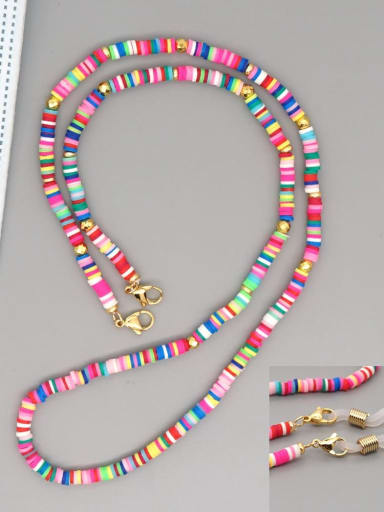 RT N200005B Stainless steel Bead Multi Color Polymer Clay Round Bohemia Hand-woven Necklace