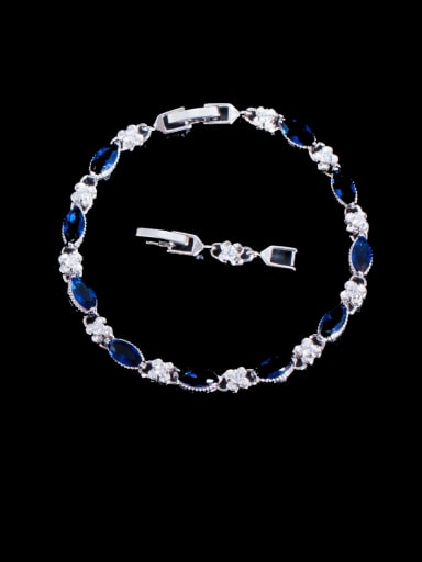 blue Brass Cubic Zirconia Geometric Luxury Bracelet
