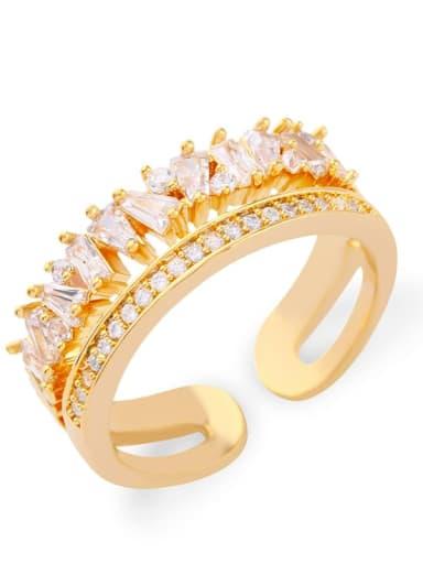golden Brass Cubic Zirconia Irregular Vintage Stackable Ring