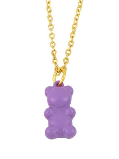 purple Brass Enamel Cute Bear Pendant Necklace
