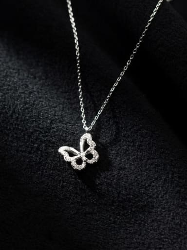 925 Sterling Silver Cubic Zirconia Butterfly Minimalist Necklace
