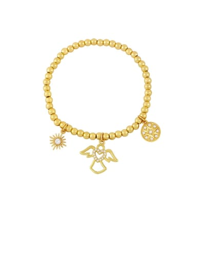 C Brass Cubic Zirconia Ball Vintage Beaded Bracelet