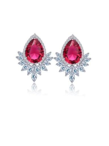 gules Brass Cubic Zirconia Water Drop Luxury Cluster Earring