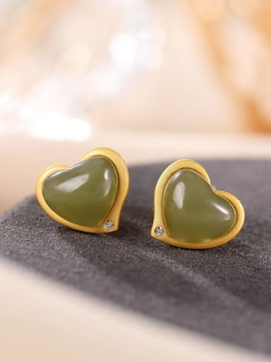 Blue jade (a pair) 925 Sterling Silver Jade Heart Vintage Stud Earring