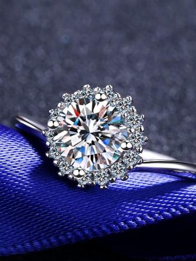 Sterling Silver Moissanite White Flower Dainty Engagement Rings