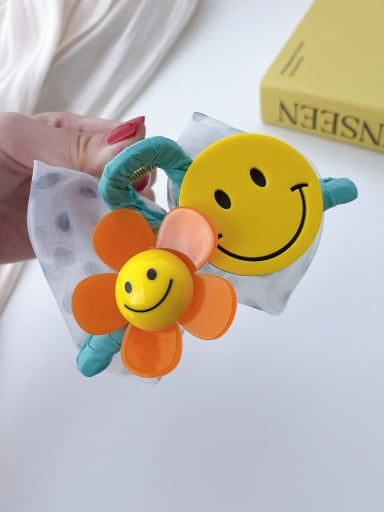 Cyan smiling face 11cm Alloy Resin Trend Cute Smiley  Flower Jaw Hair Claw