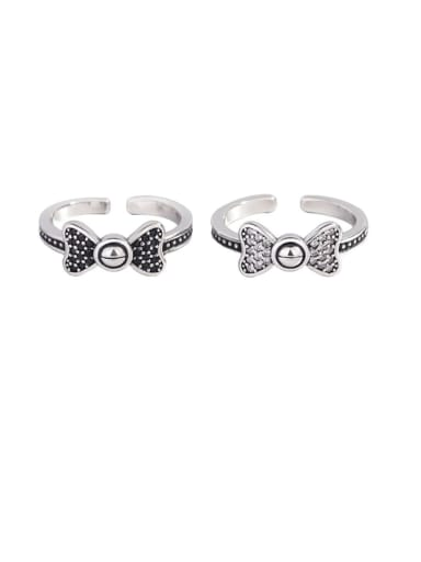 925 Sterling Silver Cubic Zirconia Bowknot Vintage Midi Ring