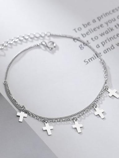 925 Sterling Silver Cross Minimalist Strand Bracelet