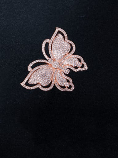 Rose Gold US  7 Brass Cubic Zirconia Butterfly Luxury Band Ring