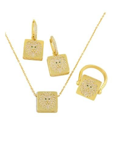 Brass Cubic Zirconia Vintage Square  Earring Ring and Necklace Set