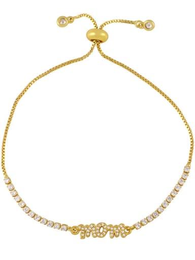 B Brass Cubic Zirconia Letter Minimalist Adjustable Bracelet