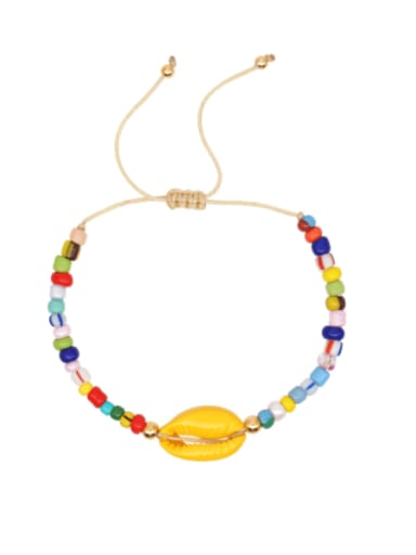 Stainless steel Glass Bead Multi Color Geometric Bohemia Woven Bracelet