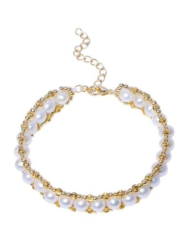 Brass Freshwater Pearl Geometric Vintage Woven Bracelet
