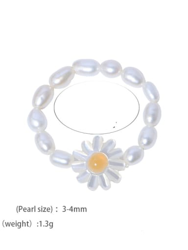 Ring Brass Freshwater Pearl Minimalist Irregular  Ring and Necklace Set