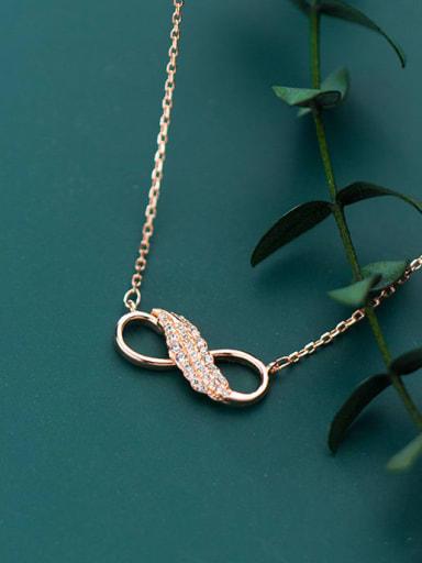 925 Sterling Silver Rhinestone simple fashion no 8 Pendant Necklace