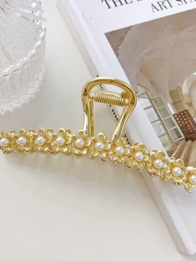 Straight flower 12cm Alloy Imitation Pearl Minimalist Flower  Jaw Hair Claw