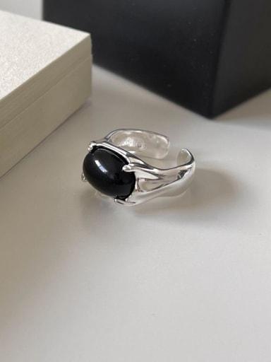 925 Sterling Silver Obsidian Flower Vintage Band Ring