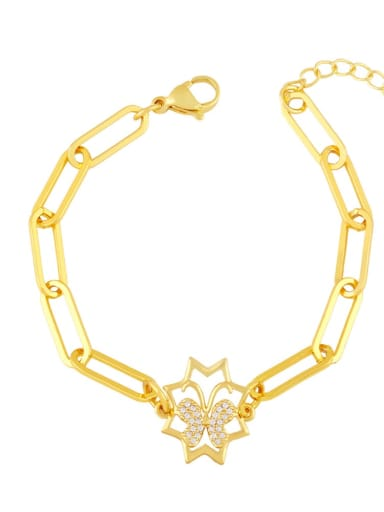 B Brass Cubic Zirconia Star Vintage Link Bracelet