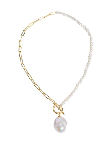 Brass Freshwater Pearl Irregular Minimalist Necklace