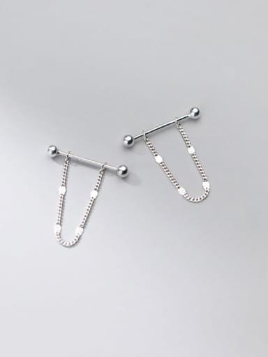 silver 925 Sterling Silver Tassel Minimalist Drop Earring