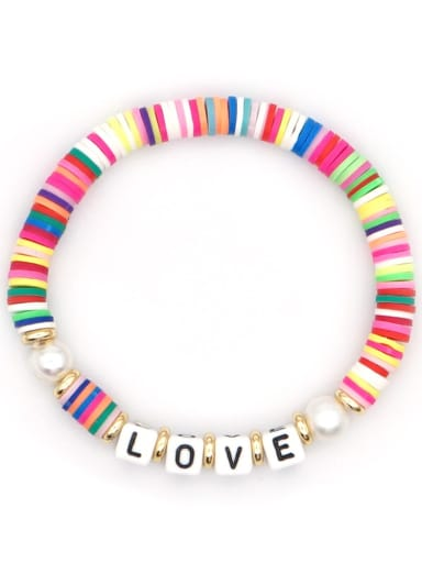 QT B200144A Stainless steel Freshwater Pearl Multi Color Polymer Clay Letter Bohemia Stretch Bracelet