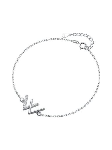 925 Sterling Silver Rhinestone Letter Minimalist Link Bracelet