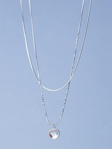 925 Sterling Silver Cubic Zirconia Heart Minimalist Multi Strand Necklace
