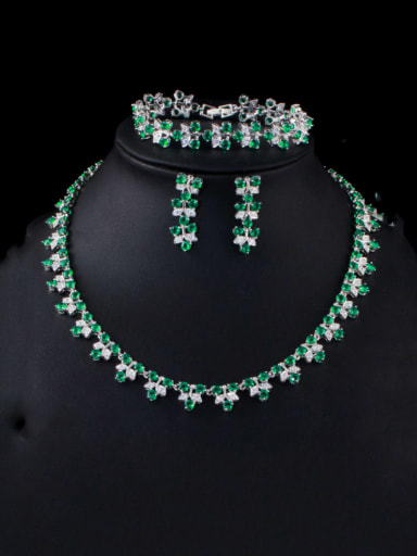 Green (set of 3) Brass Cubic Zirconia Luxury Flower Earring Braclete and Necklace Set
