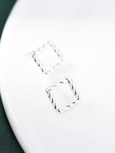 silvery 925 Sterling Silver Geometric Vintage Huggie Earring
