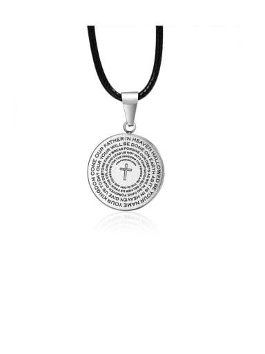 Titanium Black Leather Letter Vintage Necklaces