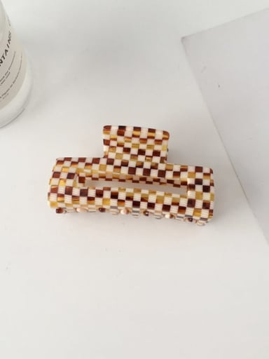 F143 Cellulose Acetate Minimalist Large and medium Checkered Coffee color hollow  Alloy Jaw Hair Claw