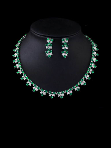 green Brass Cubic Zirconia Luxury Flower Earring and Necklace Set