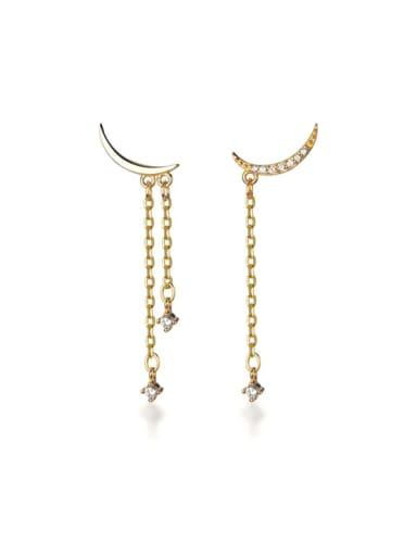925 Sterling Silver Rhinestone Tassel Dainty Threader Earring