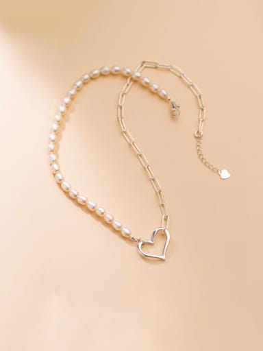 925 Sterling Silver Imitation Pearl Heart Minimalist Necklace