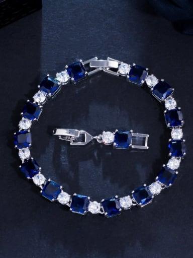 Sapphire blue Brass Cubic Zirconia Geometric Luxury Bracelet