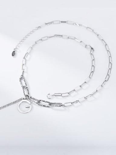 G letter retro Necklace 925 Sterling Silver Tassel Vintage Lariat Necklace