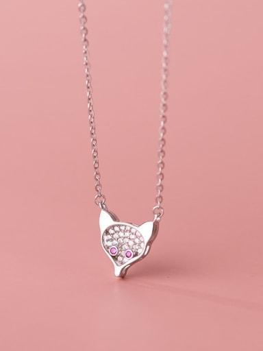 silver 925 Sterling Silver Cubic Zirconia Fox Cute Necklace