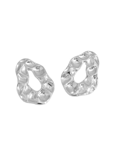 Platinum 925 Sterling Silver Geometric Vintage Stud Earring