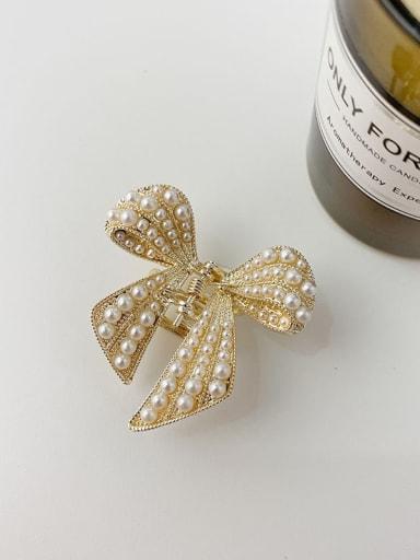 Bow 4.2cm Alloy Imitation Pearl Minimalist Butterfly Jaw Hair Claw