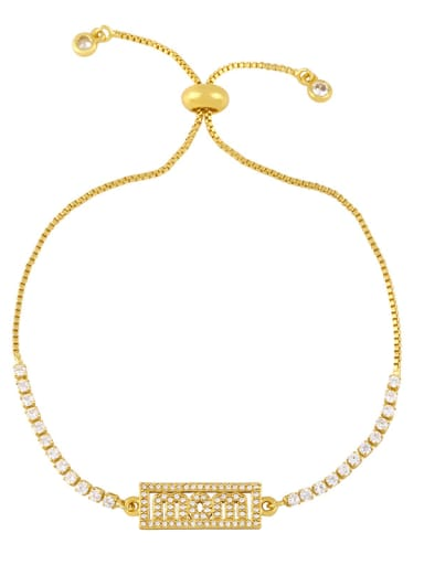 C Brass Cubic Zirconia Letter Hip Hop Adjustable Bracelet
