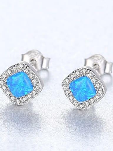 Blue 18h05 925 Sterling Silver Opal Square Minimalist Stud Earring